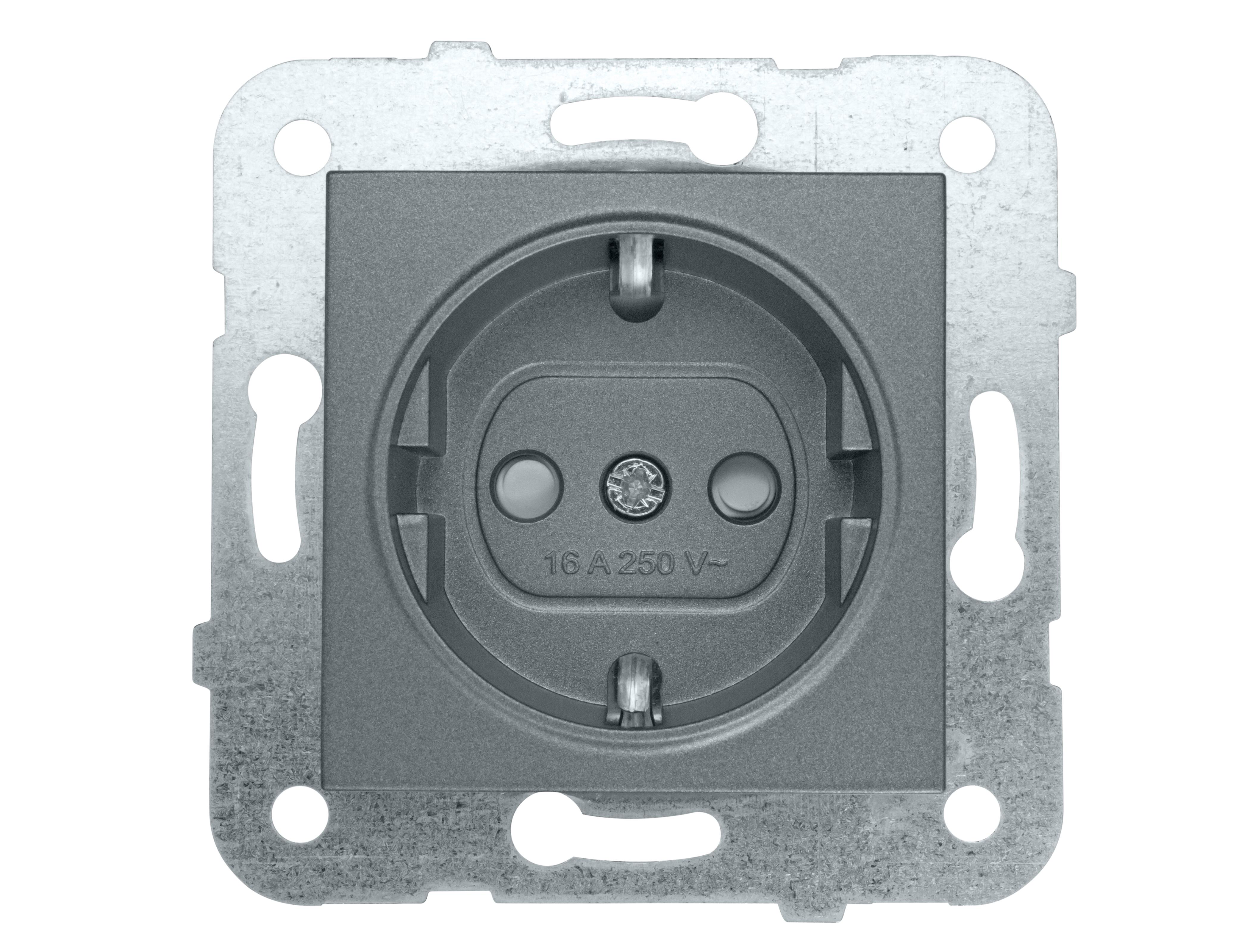 1 Stk Steckdose, erhöhter Berührungsschutz, anthrazit, Steckklemme EV111003--