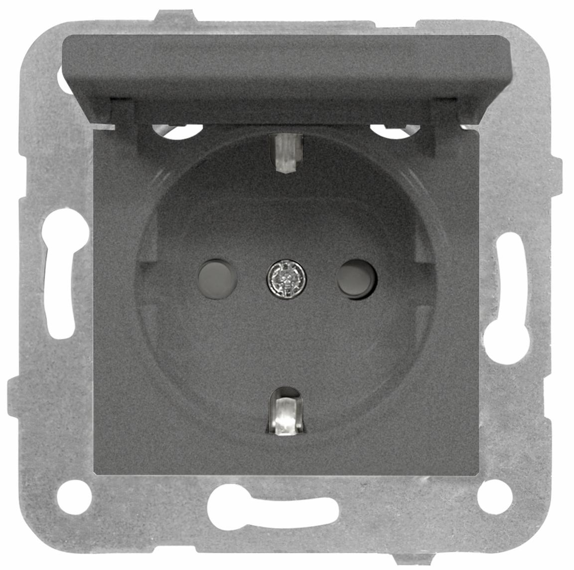 1 Stk Steckdose, erhöhter Berührungsschutz, Klappdeckel, Steckkl. EV111005--