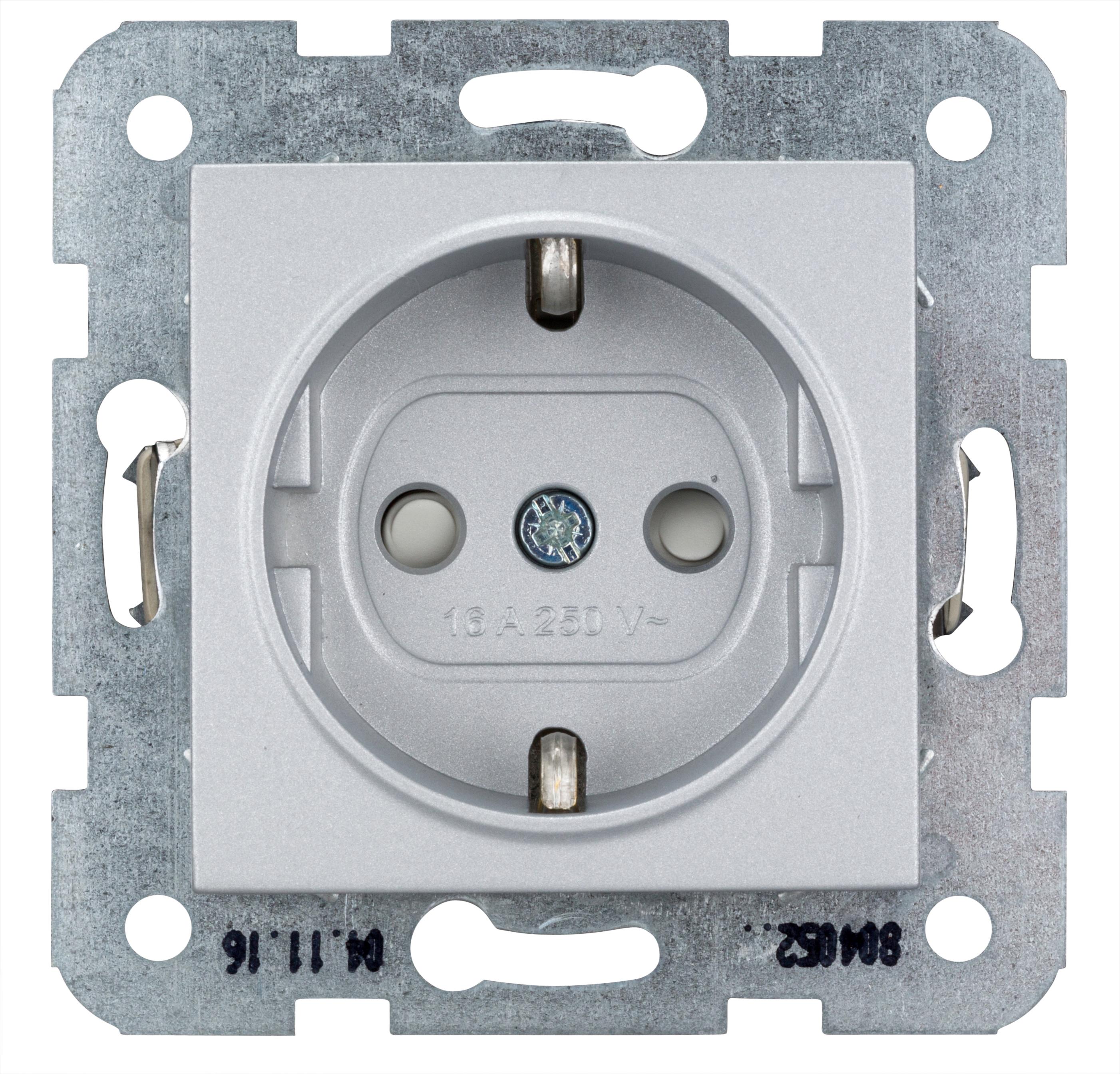 1 Stk Steckdose, erhöhter Berührungsschutz, Steckklemme, Silber EV121003--
