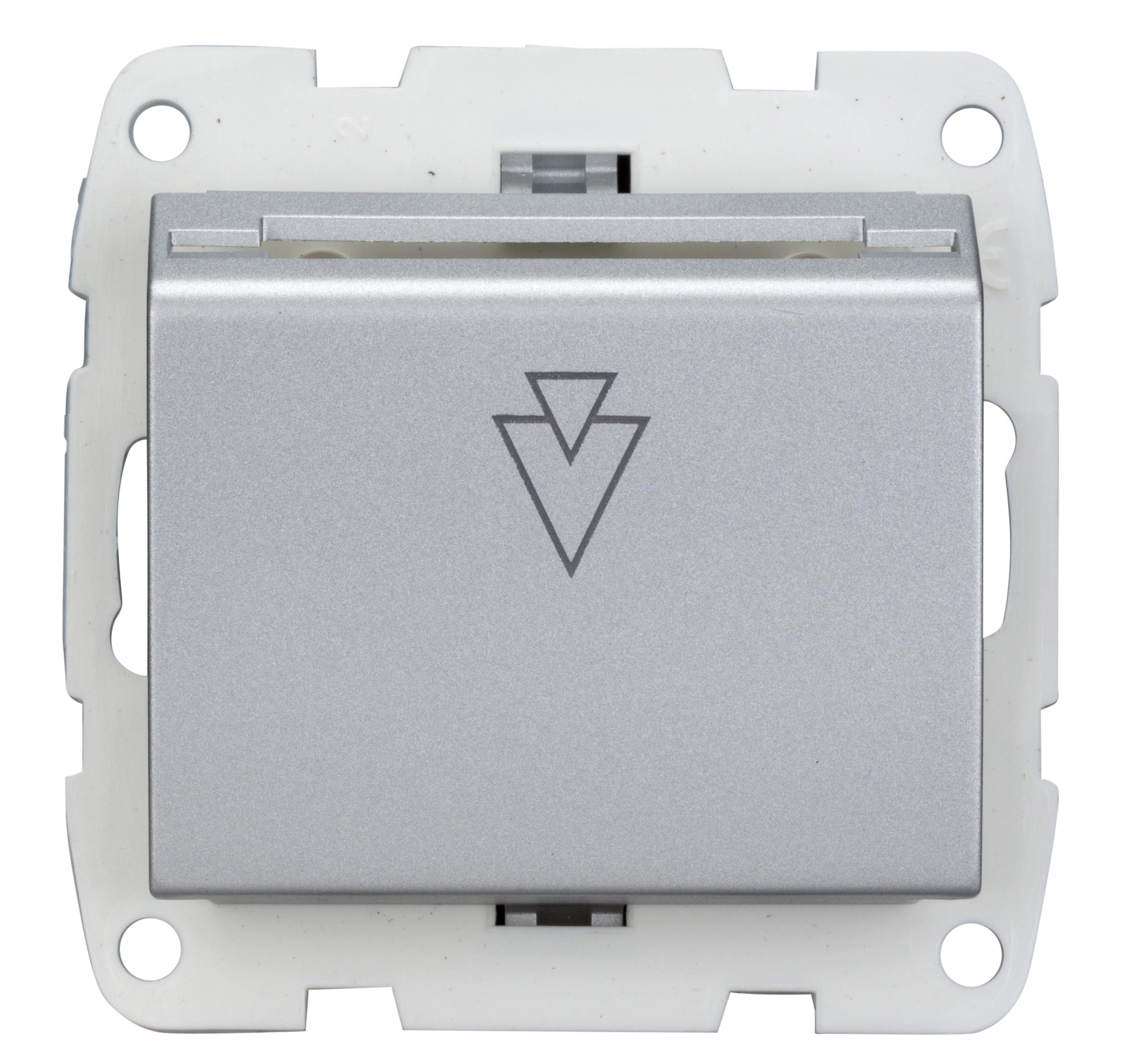 1 Stk Hotelcardschalter komplett, Schraubkontakte, Silber EV123001--