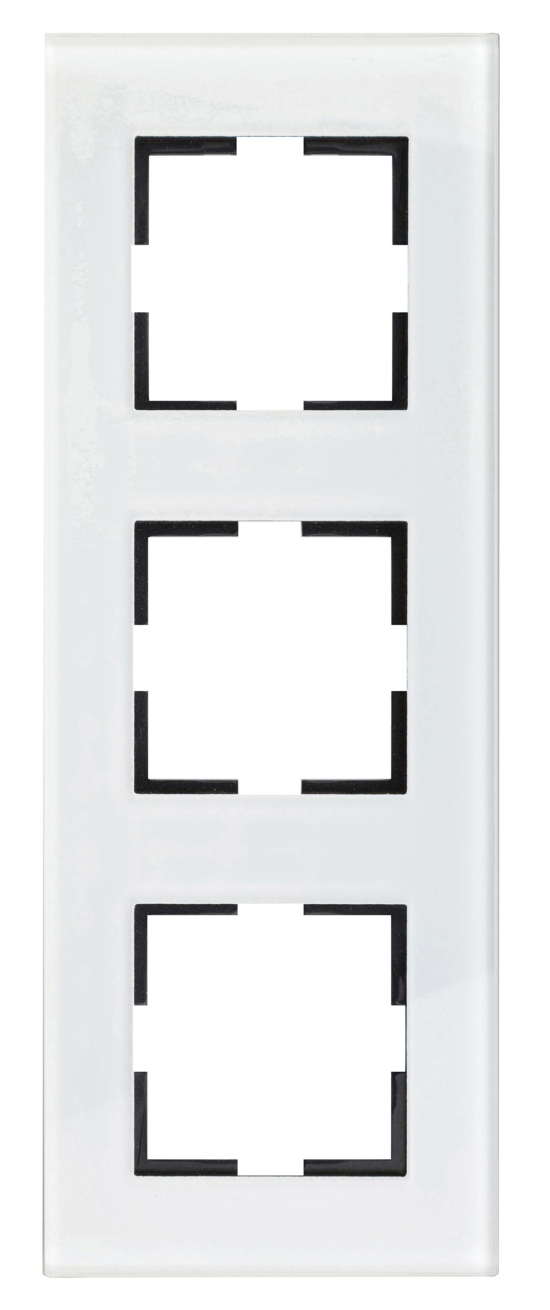 1 Stk Rahmen 3-fach, Glas weiß EV145003W-