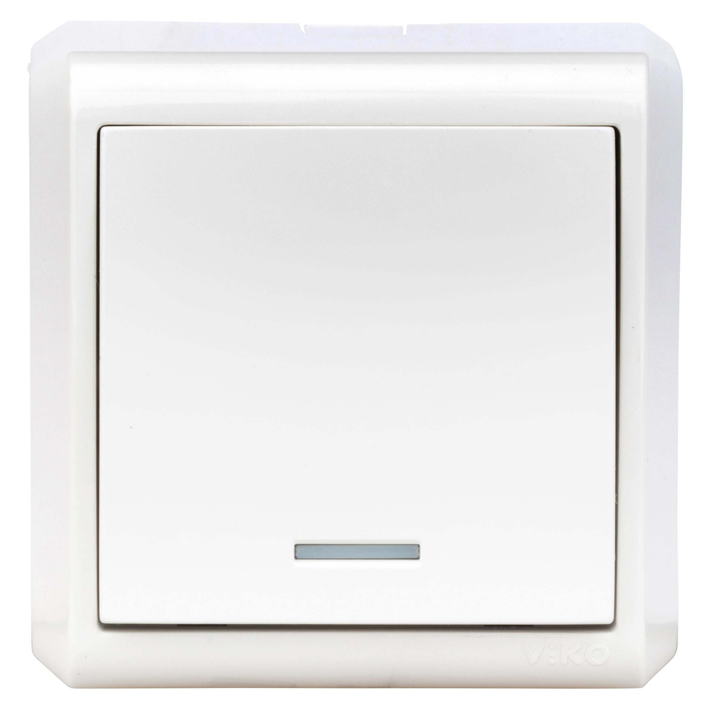 1 Stk AP-Ausschalter, 1polig, Orientierungslicht, IP20, weiß EV310007--