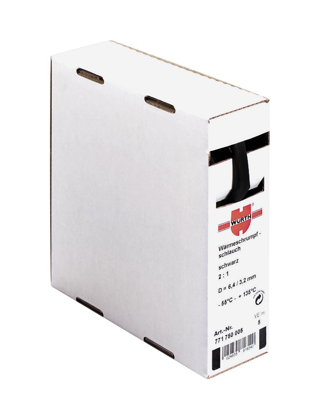 1 m Schrumpfschlauch Box 6,4/3,2 mm, 5m, schwarz GI77175050