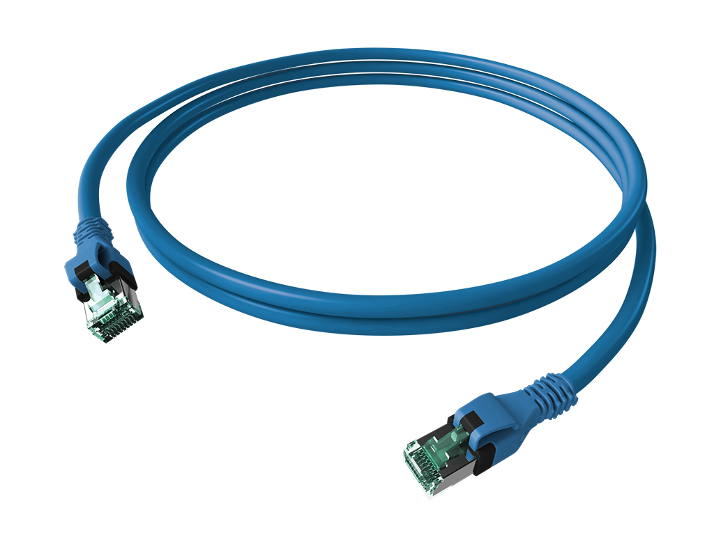 1 Stk DualBoot PushPull Patchkabel, Cat.6a, geschirmt, blau, 5m H6GPB05K0B