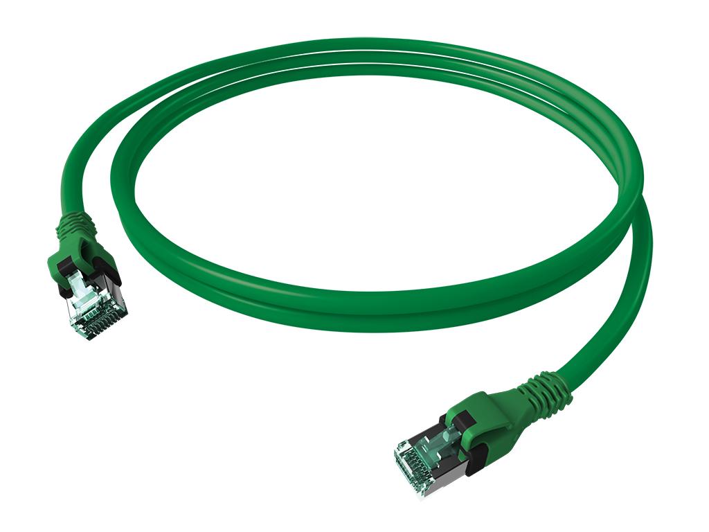 1 Stk DualBoot PushPull Patchkabel, Cat.6a, geschirmt, grün, 2m H6GPU02K0U