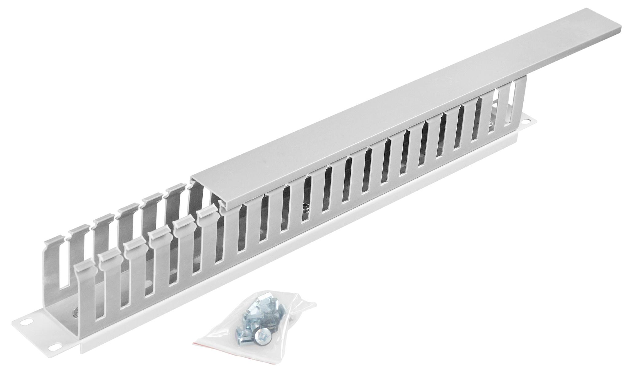 1 Stk 19 Kabelführung mit Kabelkanal einseitig, 1HE, RAL7035 HDBS148051