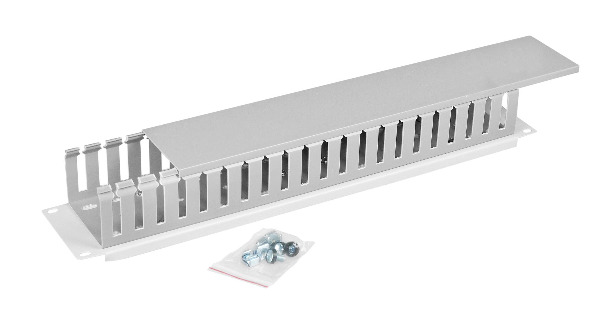 1 Stk 19 Kabelführung mit Kabelkanal einseitig, 2HE, RAL7035 HDBS148053