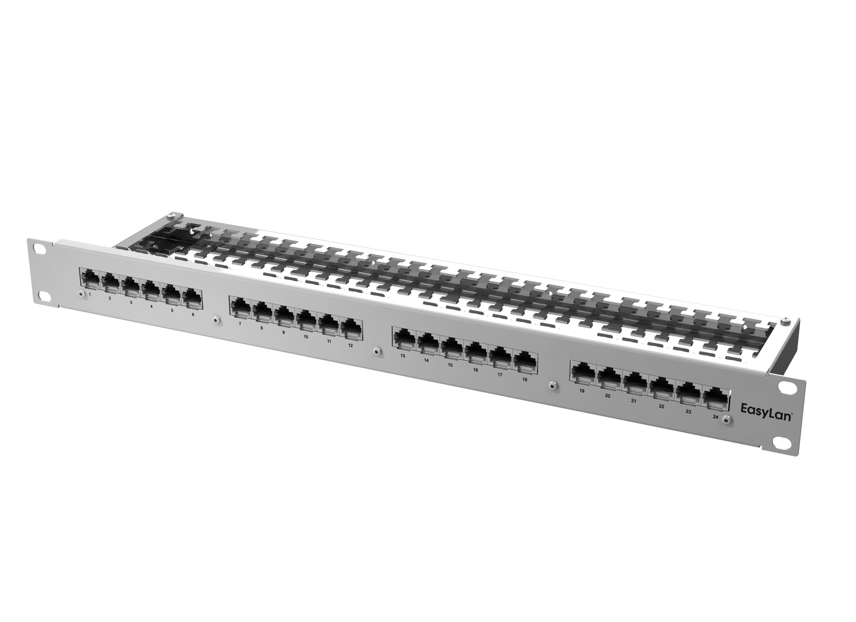 1 Stk preLink RZ-Panel 19 1HE 24x RJ45 Cat.6a ohne Kabelabschluss HEKPR624-G