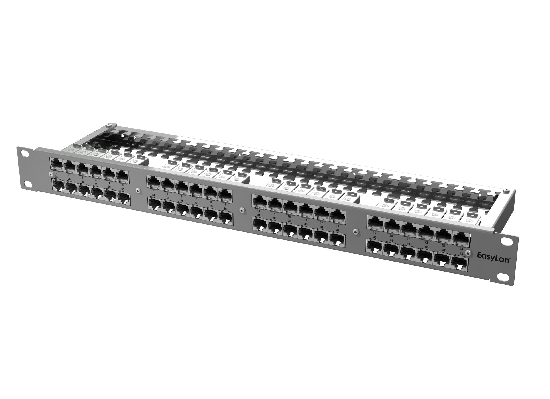 1 Stk preLink RZ-Panel 19 1HE 48x RJ45 Cat.6A, ohne Kabelabschluß HEKPRE48-G