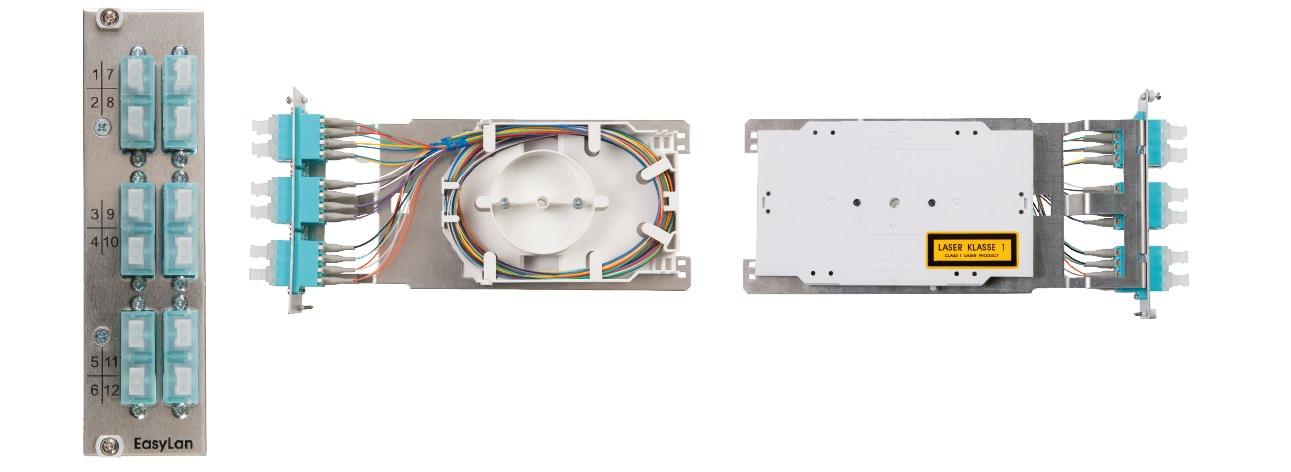 1 Stk Einschubspleißmodul für Modulträger, 3HE, inkl. 6x SCD OM3 HELLM123CC