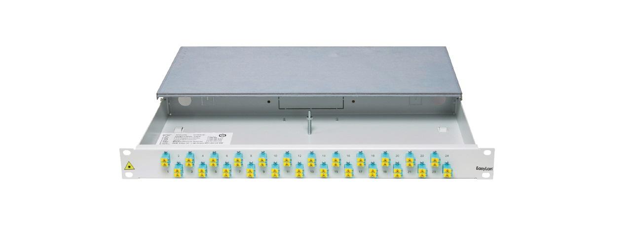 1 Stk LWL - Verteilerfeld für FODH, 19, 1HE, Frontplatte 24xST HELLV24T--