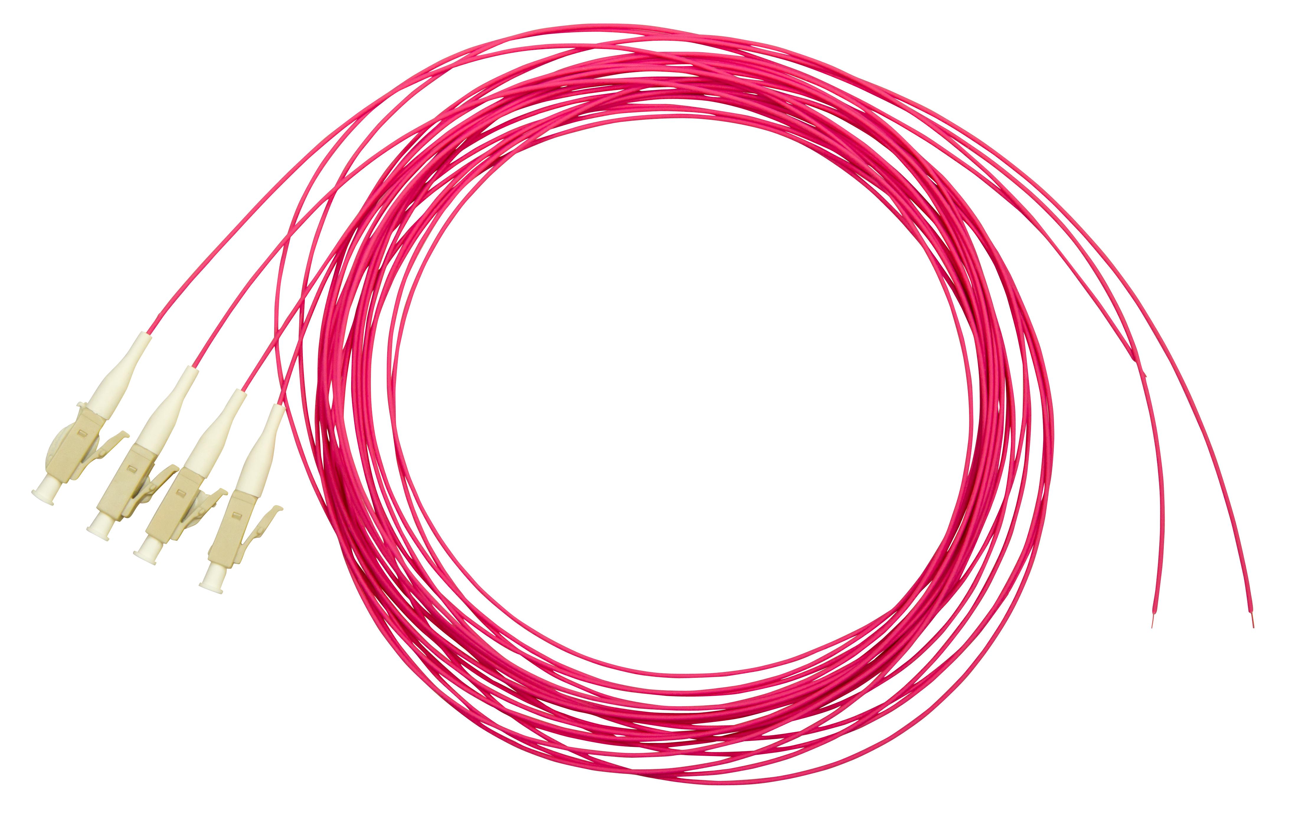 1 VE LWL Pigtail LC, 50/125µm OM4, 2.0m, Easy Strip,violet,4Stk HLP04L002E