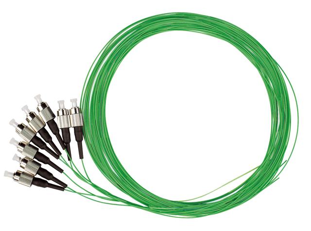 1 VE LWL Pigtail FC, 50/125µm OM2, 2.0m, Easy Strip, grün, 4Stk HLP05F002E
