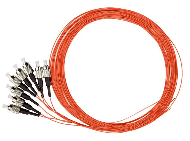 1 VE LWL Pigtail FC, 62,5/125µm OM1, 2.0m, Easy Strip,orange,4Stk HLP06F002E