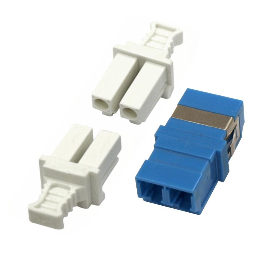 1 Stk LWL Kupplung LC-Duplex, Singlemode zirc, ohne Flansch, blau HMOL000104