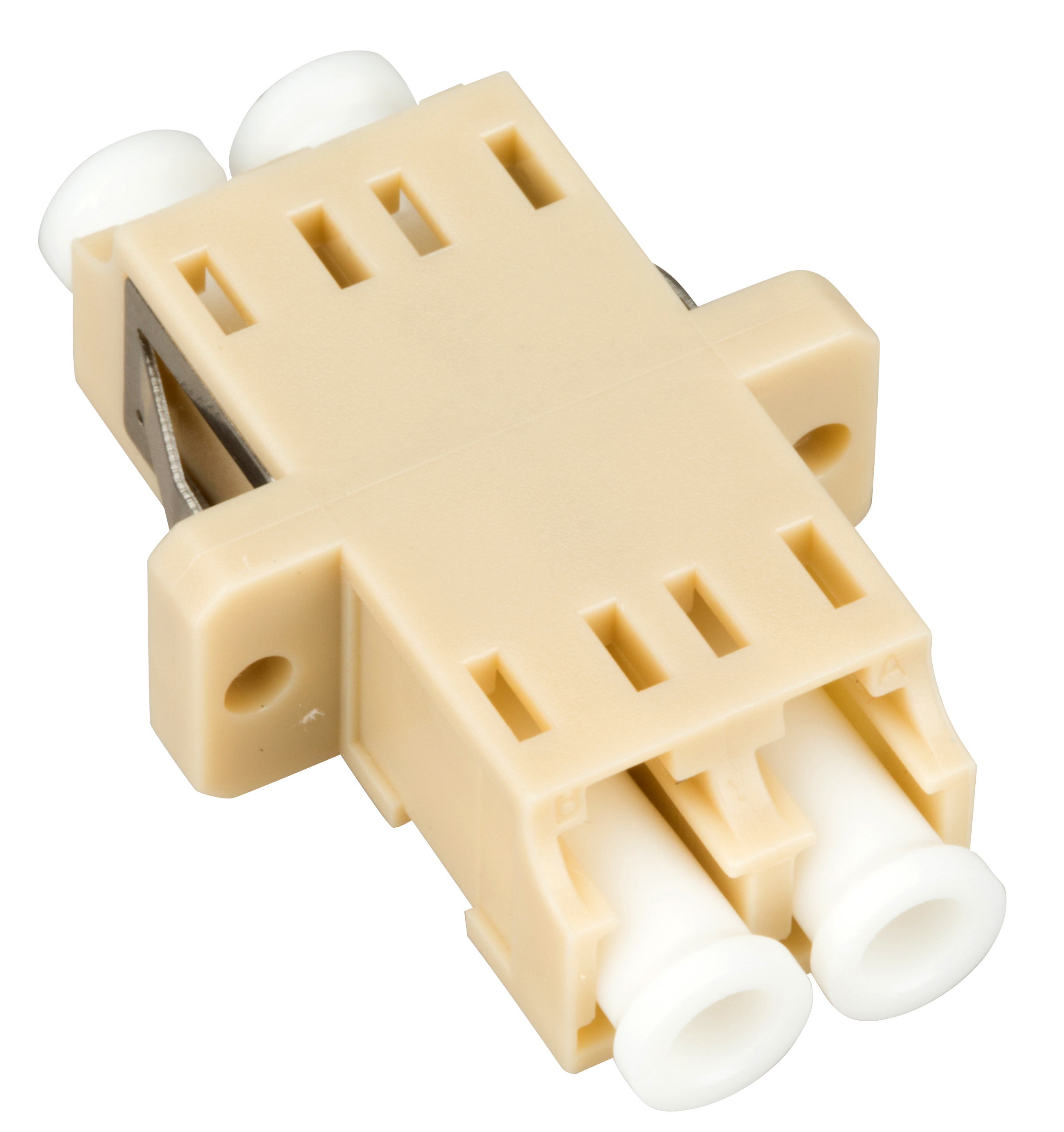 1 Stk LWL Kupplung LC-Duplex, Multimode, zirc, Flansch, beige, ECO HMOLE00051