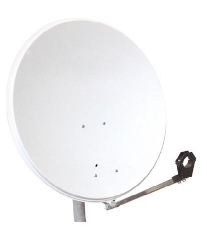 1 Stk SAT Antenne  80/75cm, Stahl, 39dB Gain, Arm klappbar, Weiß HSATA080SW