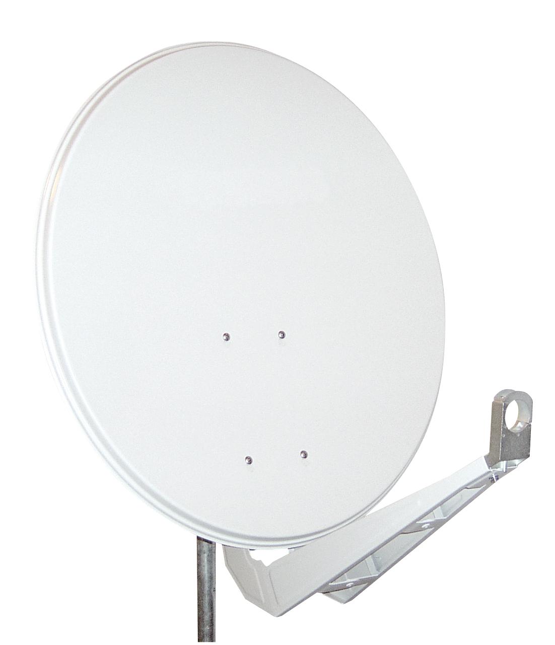 1 Stk SAT Antenne  85/80cm,Alu,40dB Gain,Doppel Monoblock Arm,Weiß HSATA085AW