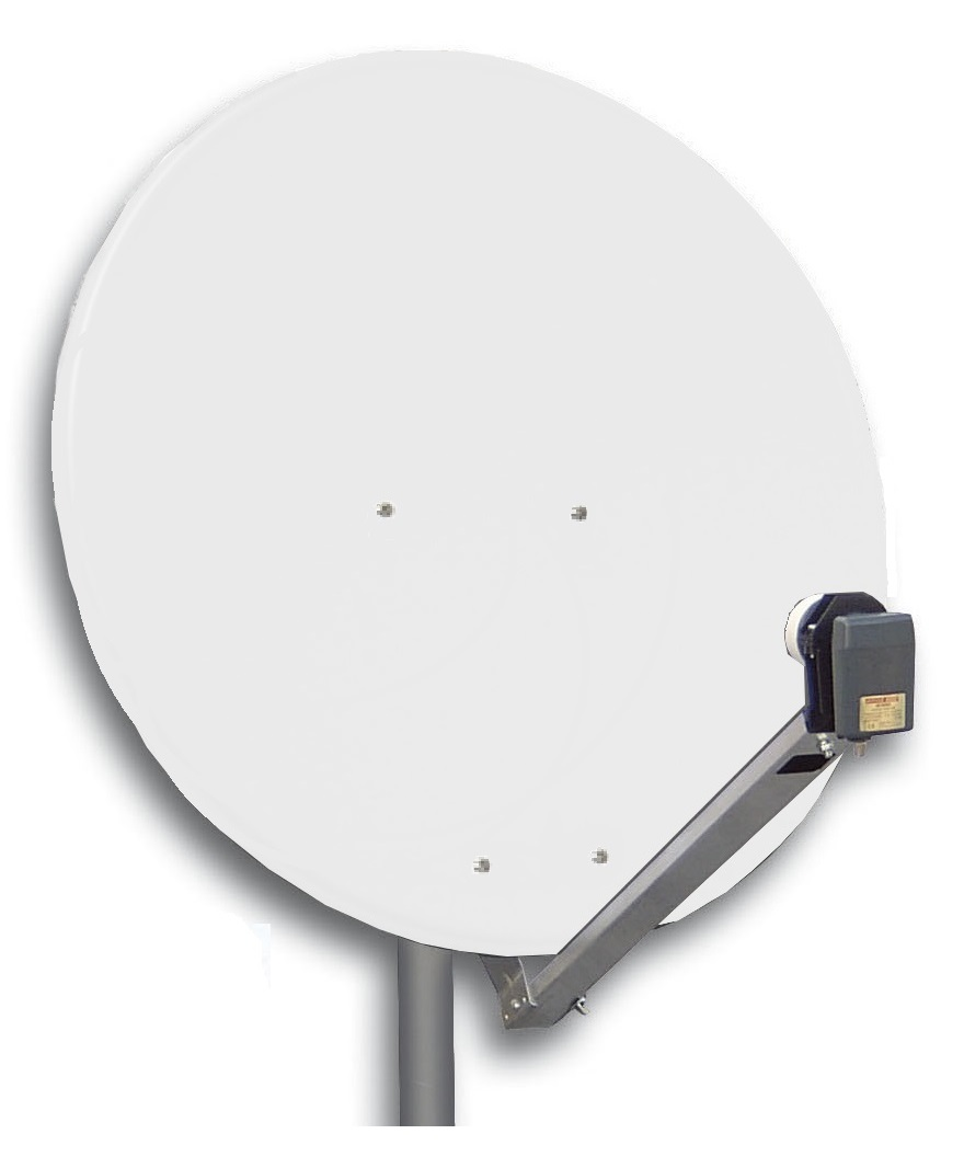 1 Stk SAT Antenne 125/120cm, Alu, 42,5dB Gain, Arm klappbar, Weiß HSATA125AW