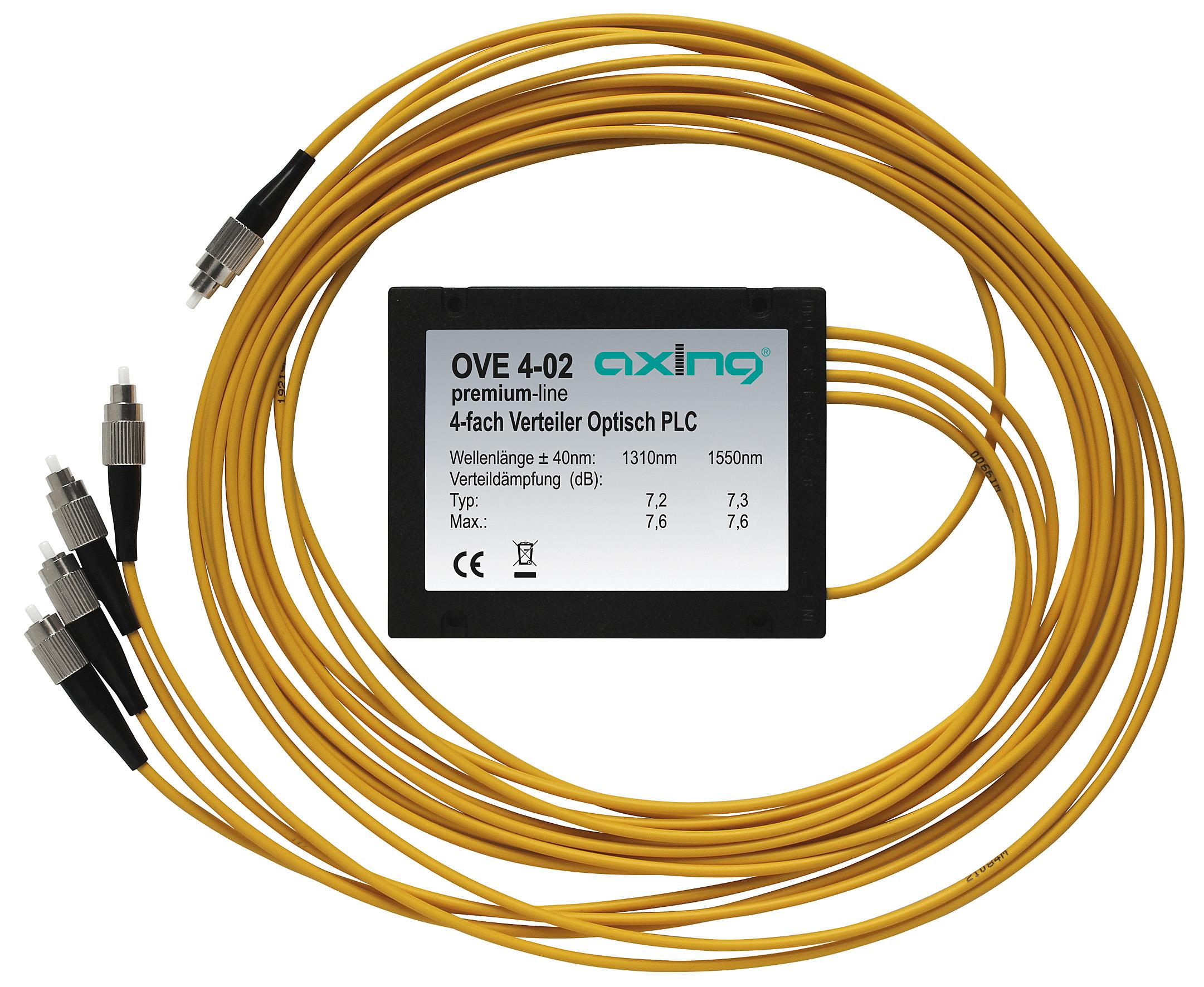1 Stk SAT LWL 4-fach Verteiler, 1m Kabeln FC/PC-Stecker, OVE 4-02 HSATFV4K01