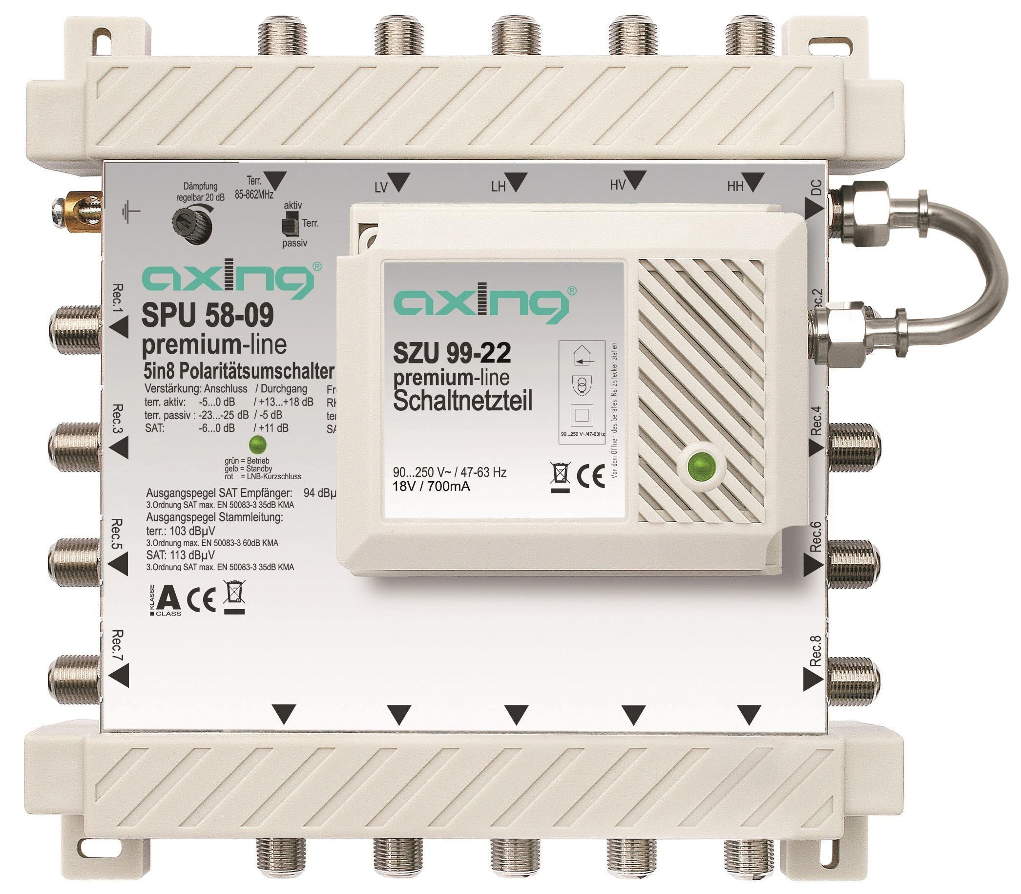1 Stk SAT Multischalter  5 in  8, kaskadierbar, SPU 58-09 HSATS508KA