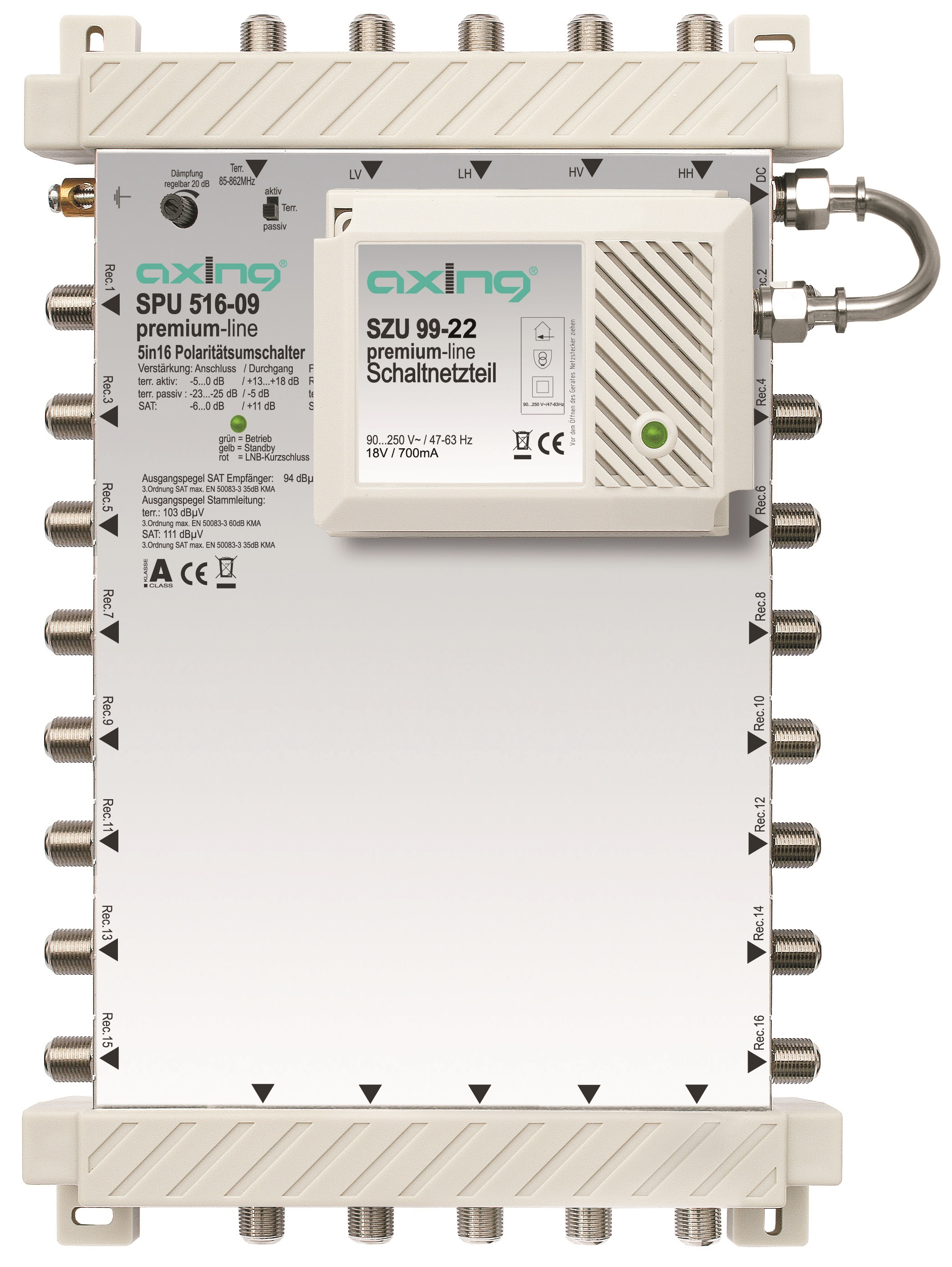 1 Stk SAT Multischalter  5 in 16, kaskadierbar, SPU 516-09 HSATS516KA