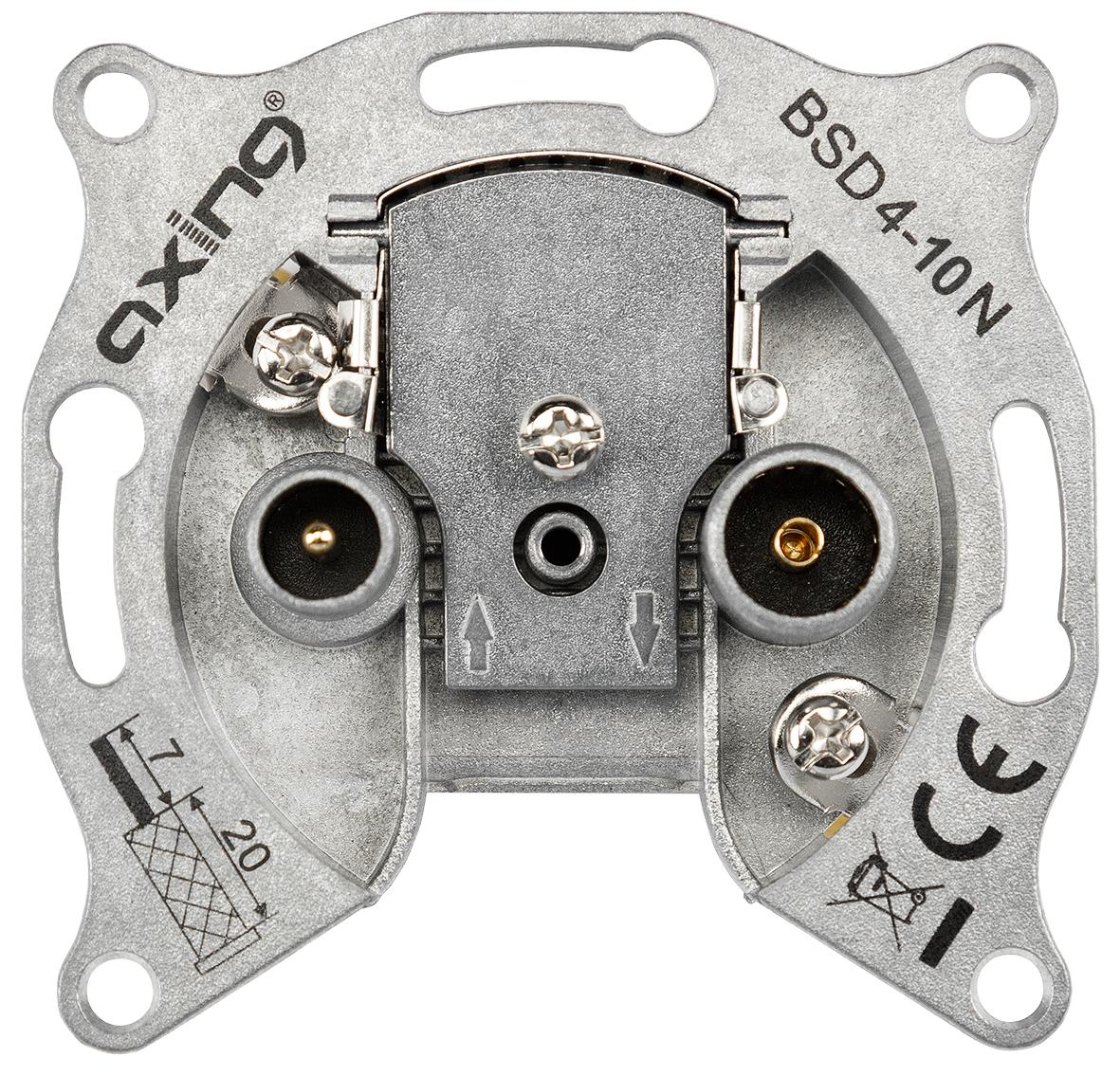1 Stk BK Durchgangsdose 2-Loch,Radio/CATV, 10dB, o.Rahmen,BSD 4-10 HSBKDDA10-