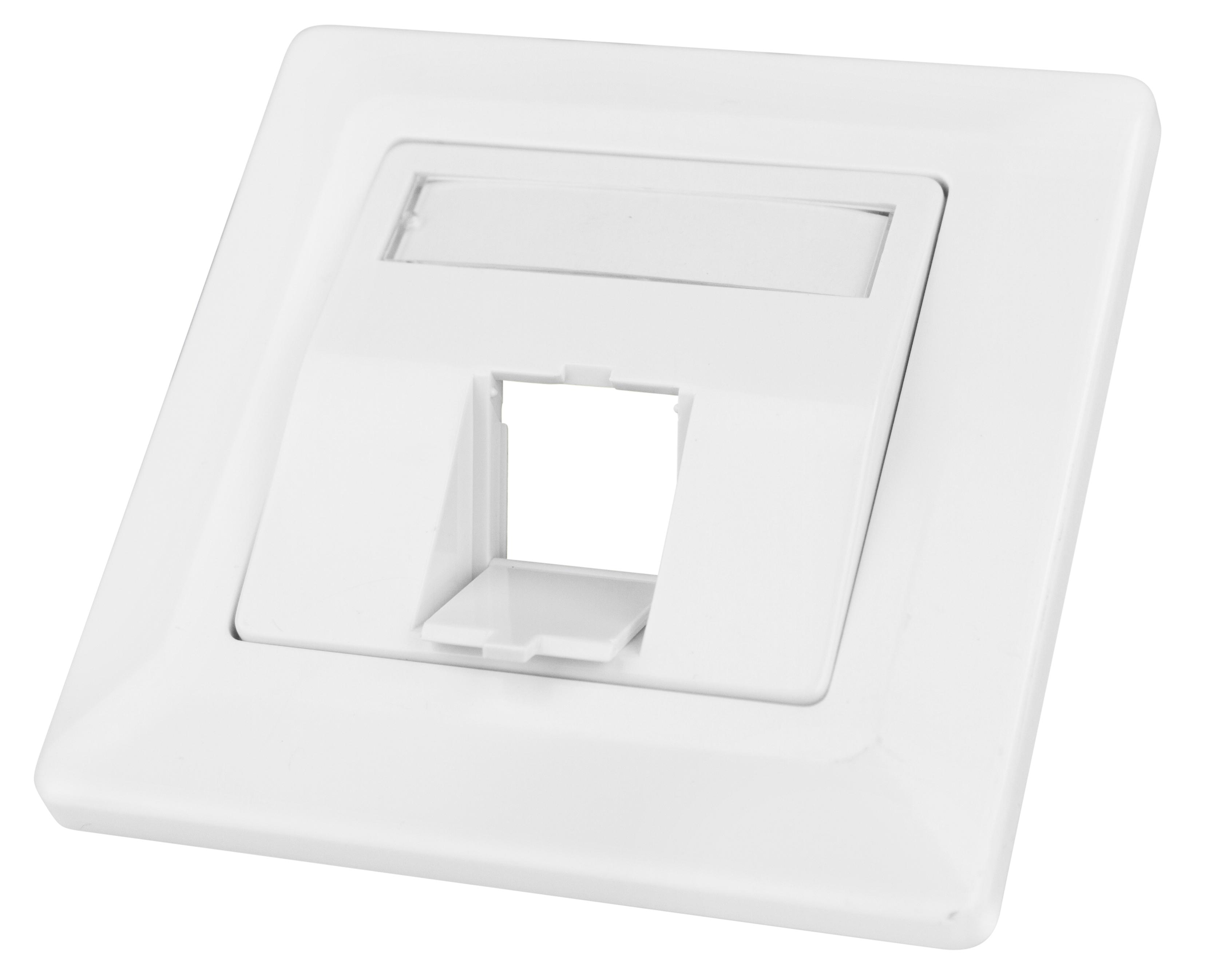 1 Stk Datendose 80x80 leer für 1 Modul (SFA)(SFB), schräg, RAL9010 HSED01UW2S