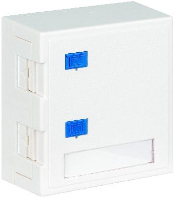 1 Stk Aufputz-Gehäuse leer für 2 Module (SFA)(SFB), RAL9010 HSED02AW3S