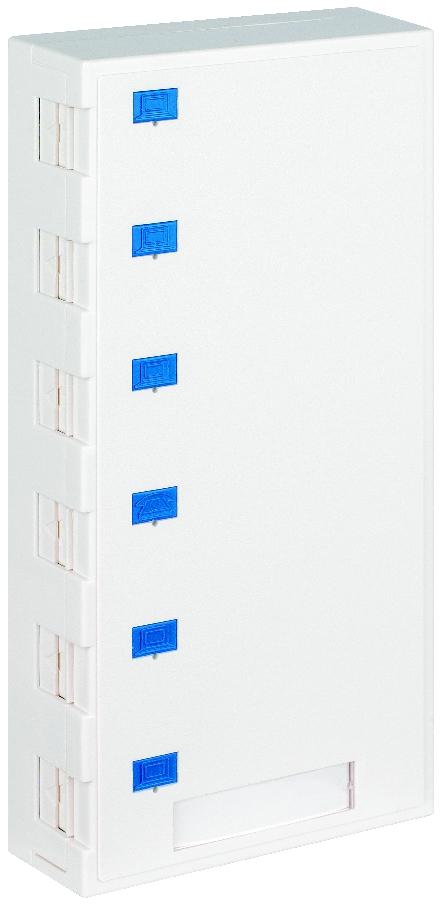 1 Stk Aufputz-Gehäuse leer für 6 Module (SFA)(SFB), RAL9010 HSED06AW3S