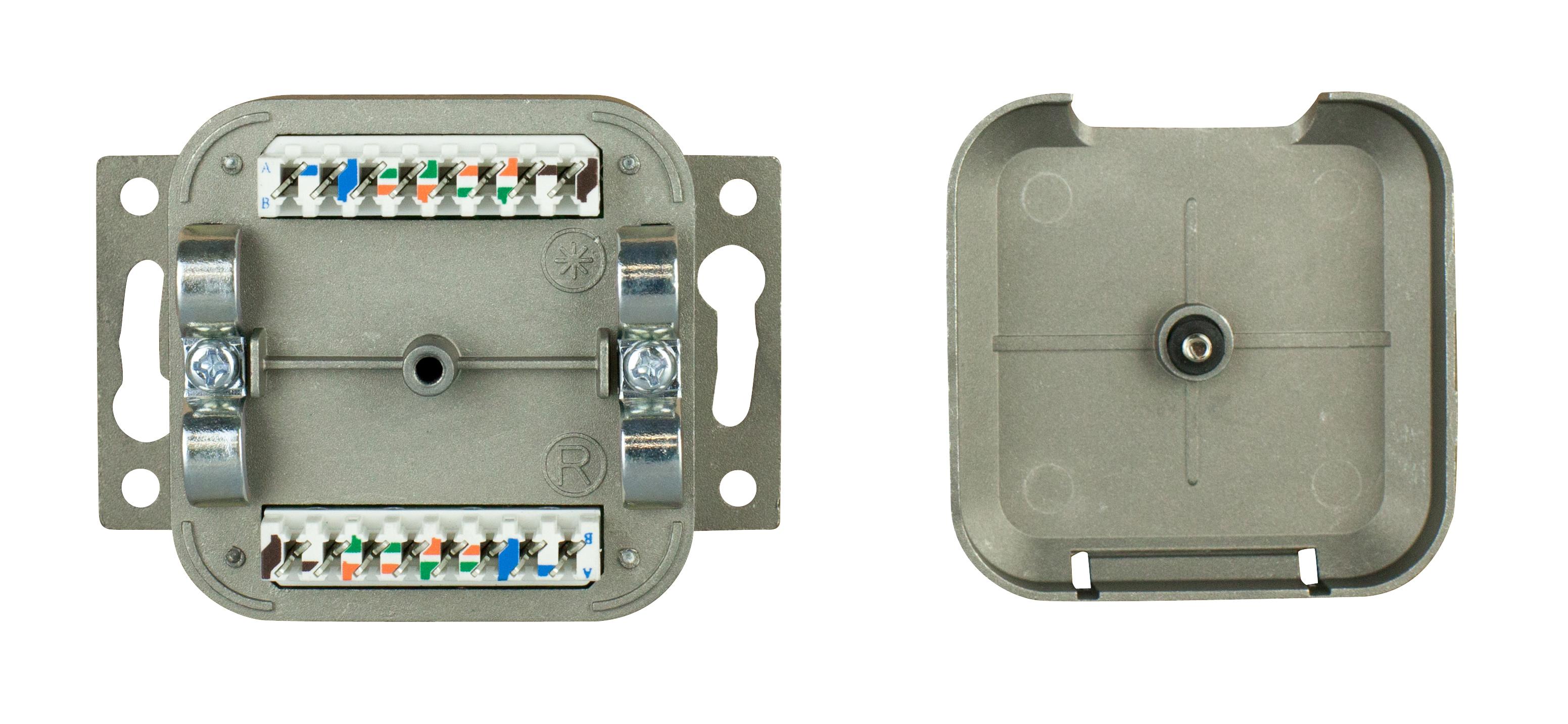 1 Stk Datendose 2xRJ45 geschirmt Cat.5e, 80x80mm, schräg, RAL9010 HSEDG2UW5F