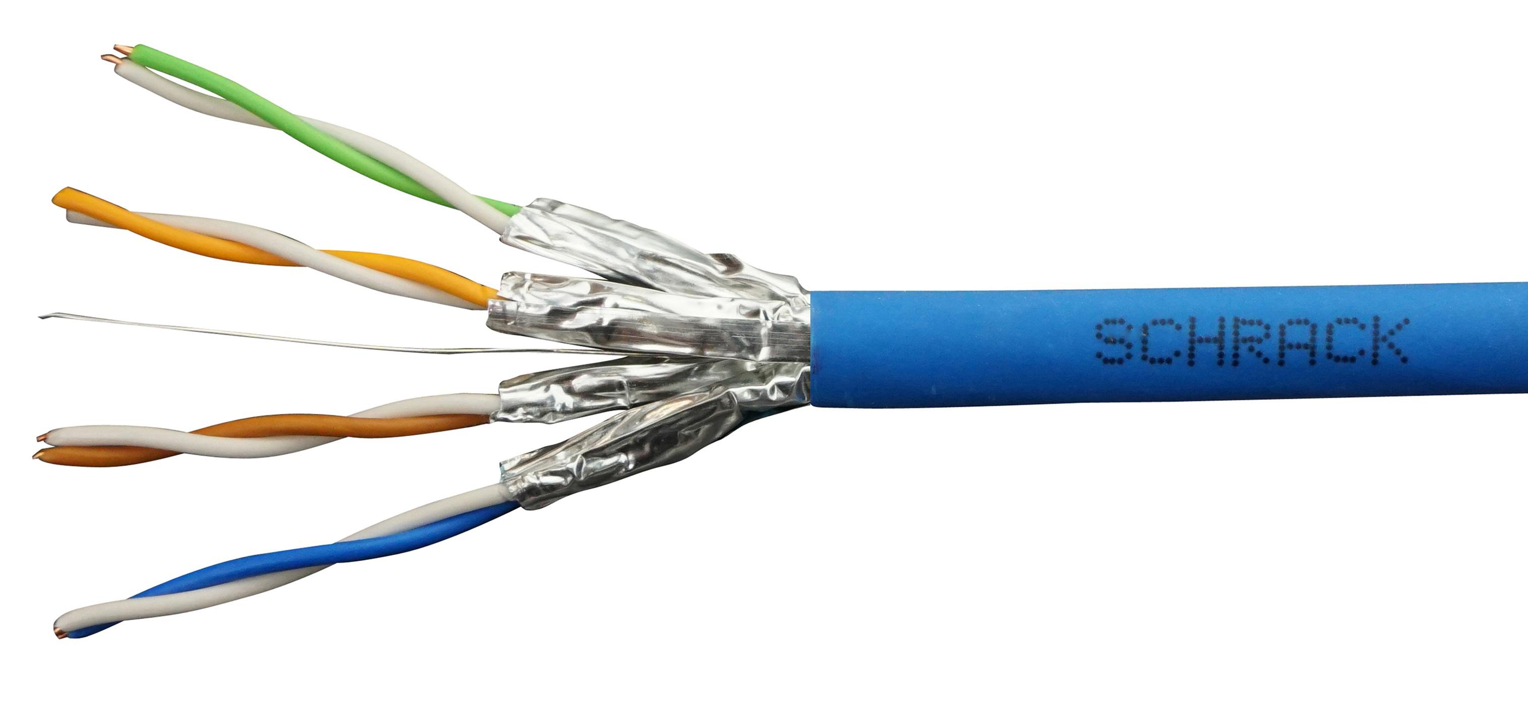 100 m U/FTP Kabel Cat.6, 4x2xAWG23/1, 300Mhz, LS0H, Dca, blau HSEKF423HB