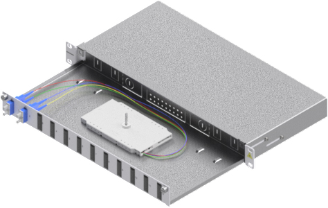 1 Stk LWL Spleißbox, 4Fasern,SC, 9/125µm OS2, ausziehbar,19,1HE HSELS049CG