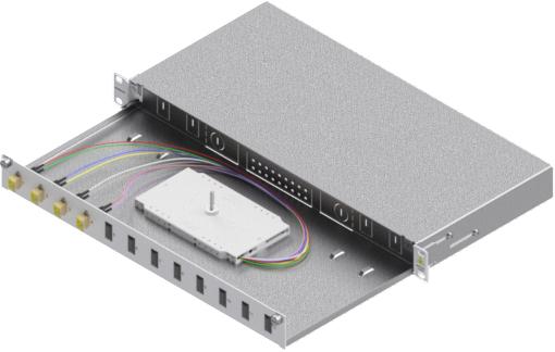 1 Stk LWL Spleißbox, 8Fasern,LC,50/125µm OM2, ausziehbar,19,1HE HSELS085LG