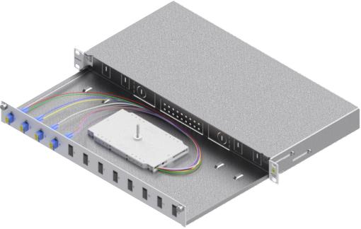 1 Stk LWL Spleißbox, 8Fasern,LC, 9/125µm OS2, ausziehbar,19,1HE HSELS089LG