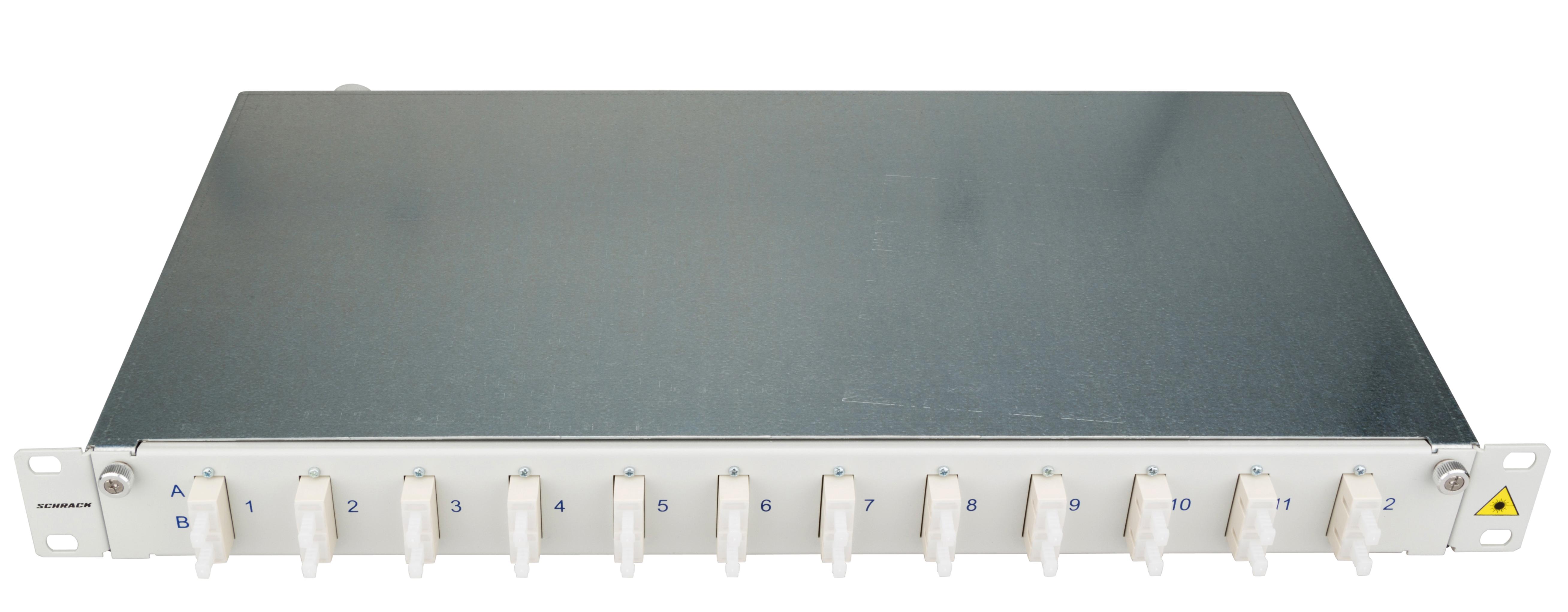 1 Stk LWL Patchpanel 19, 1 HE, ausziehbar, für 12 Fasern, SC, MM HSELS12MCG