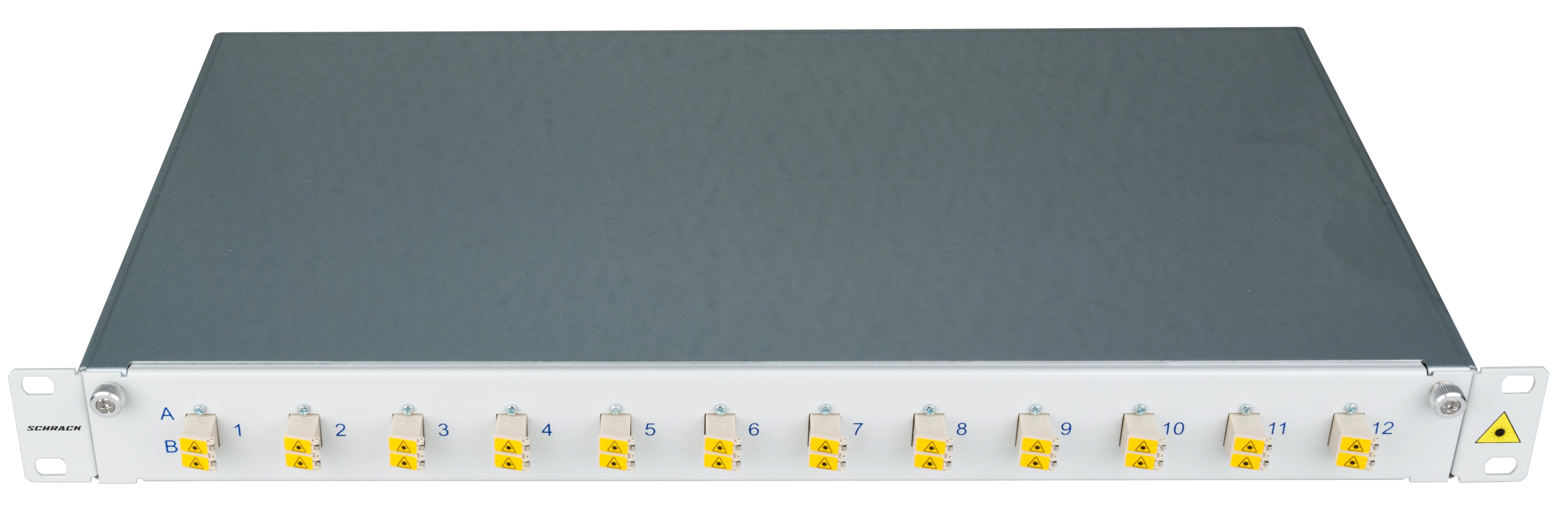 1 Stk LWL Patchpanel 19, 1 HE, ausziehbar, für 12 Fasern, LC, MM HSELS12MLG