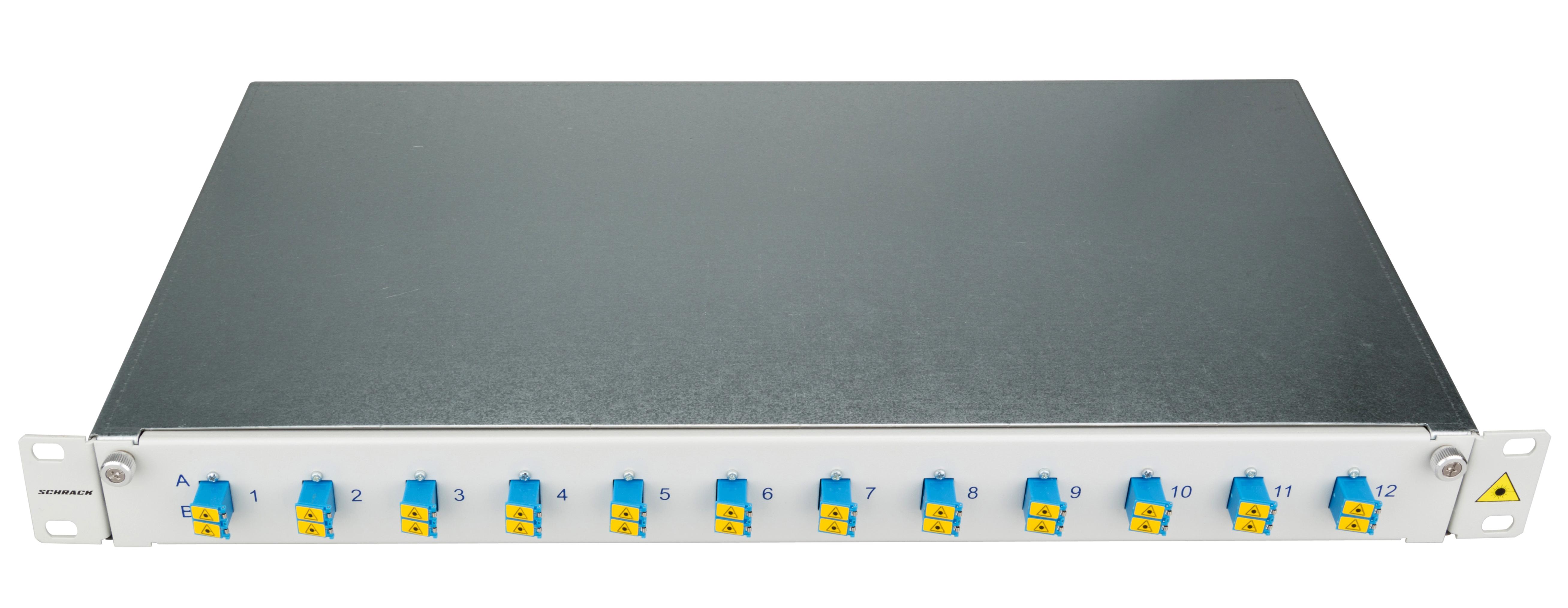 1 Stk LWL Patchpanel 19, 1 HE, ausziehbar, für 12 Fasern, LC, SM HSELS12SLG