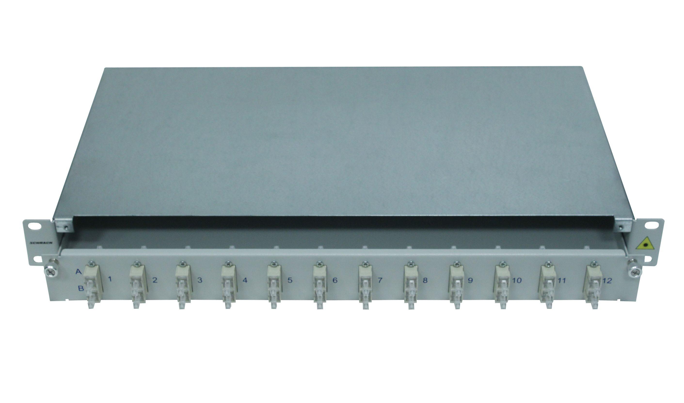 1 Stk LWL Patchpanel 19, 1 HE, ausziehbar, für 16 Fasern, SC, SM HSELS16SCG