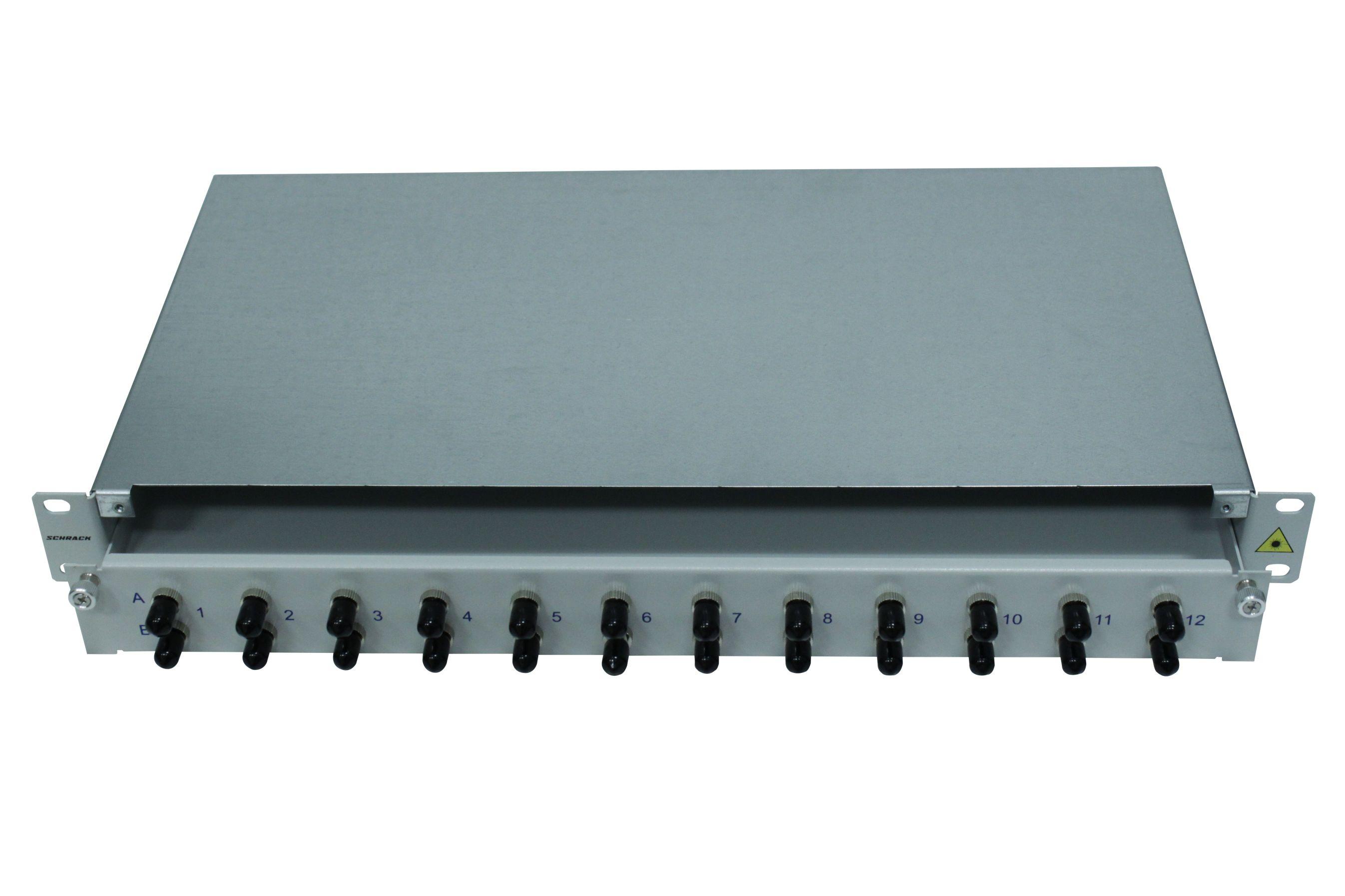 1 Stk LWL Patchpanel 19, 1 HE, ausziehbar, für 24 Fasern, ST, MM HSELS24MTG