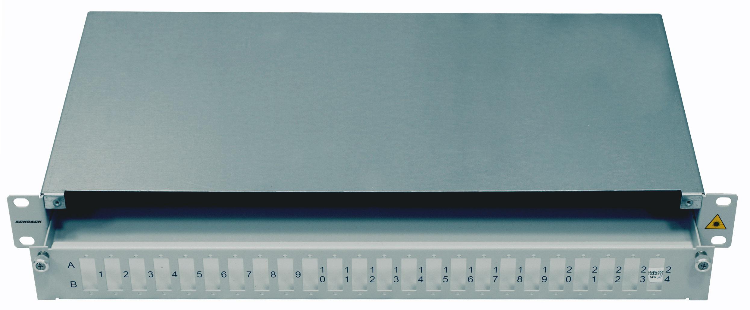 1 Stk LWL Spleißbox leer für 24 SC-Duplex Kupplungen, 1HE, RAL7035 HSELS480CG