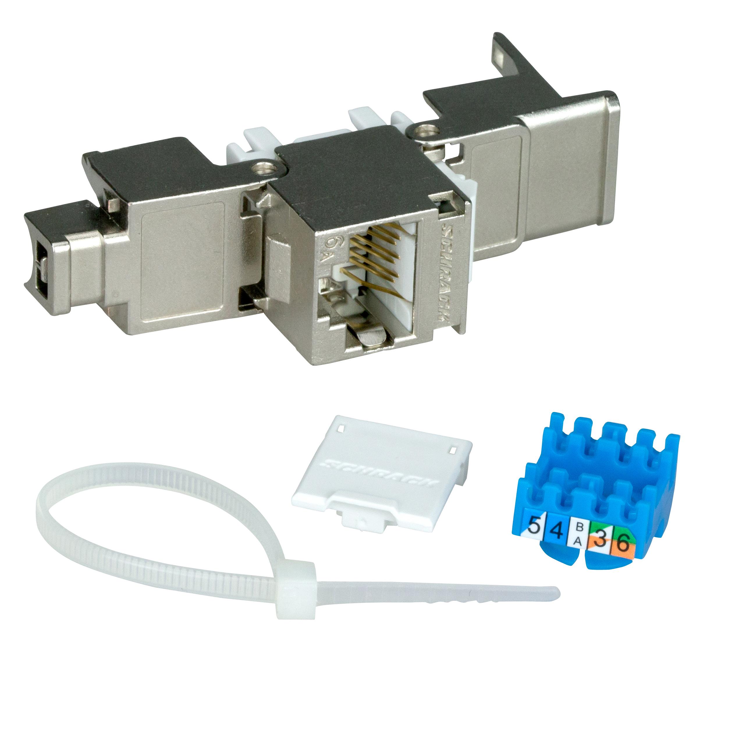 1 Stk TOOLLESS LINE Buchse RJ45 geschirmt Cat.6a 10GB 4PPoE 100W HSEMRJ6GBA