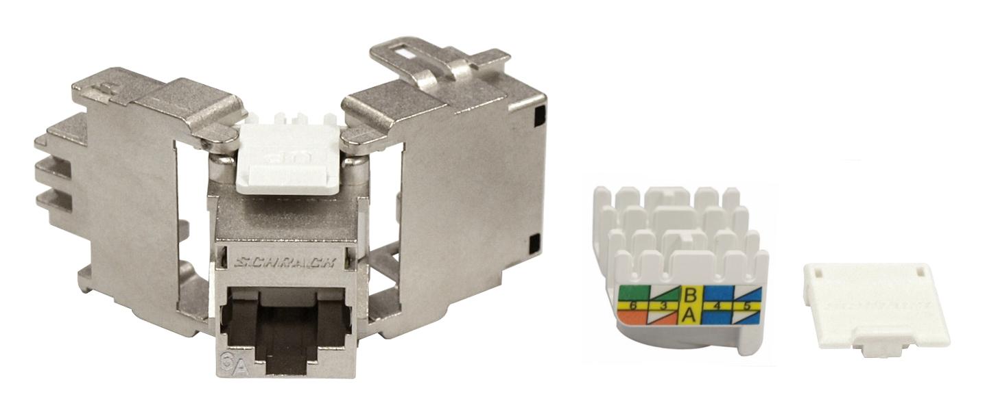 1 Stk TOOLLESS LINE Buchse RJ45 geschirmt Cat.6a 10GB 4PPoE (100W) HSEMRJ6GWA