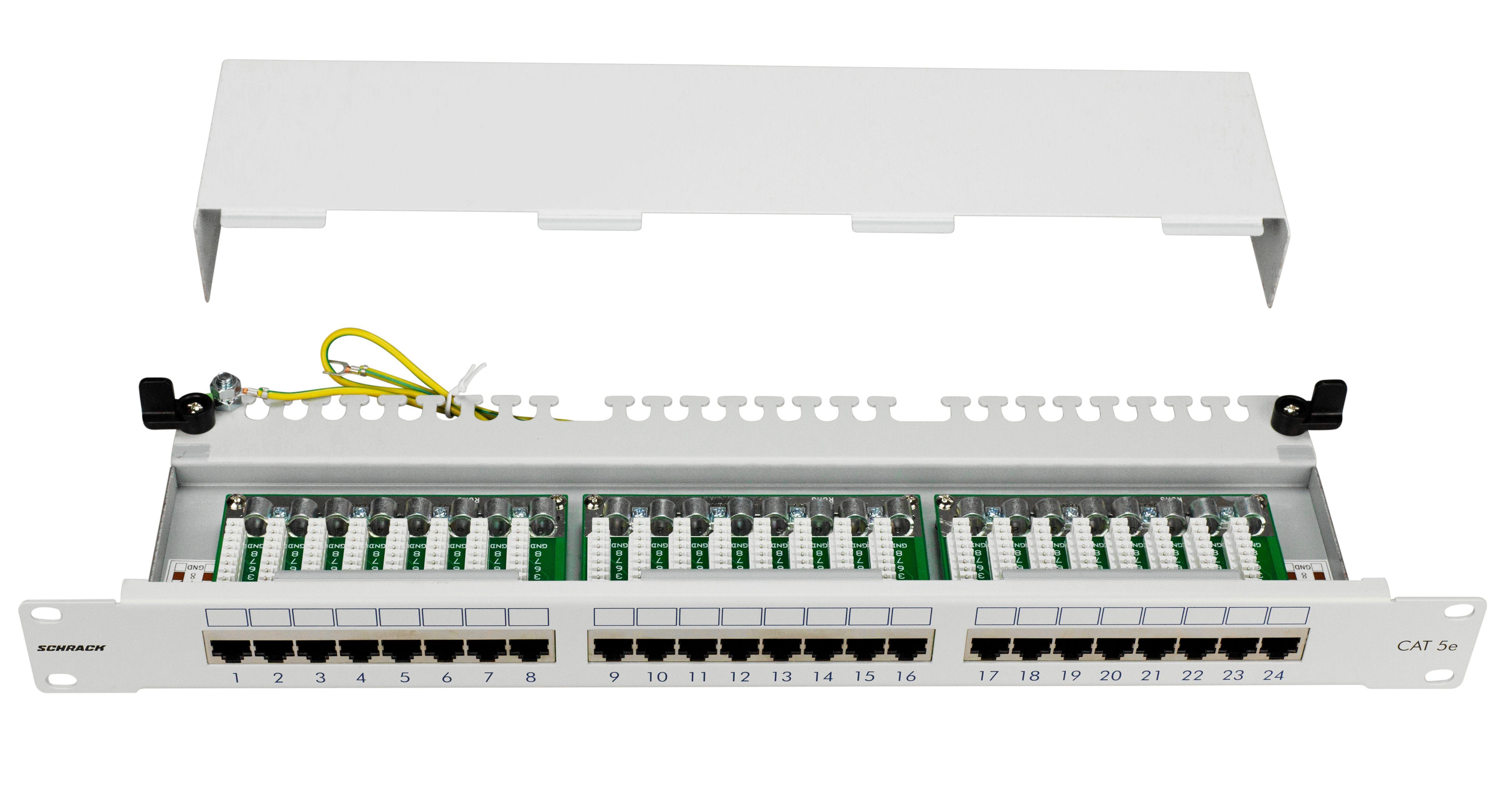 1 Stk Patchpanel 19 24xRJ45 geschirmt Cat.5e, 1HE, RAL7035 HSERG245GS