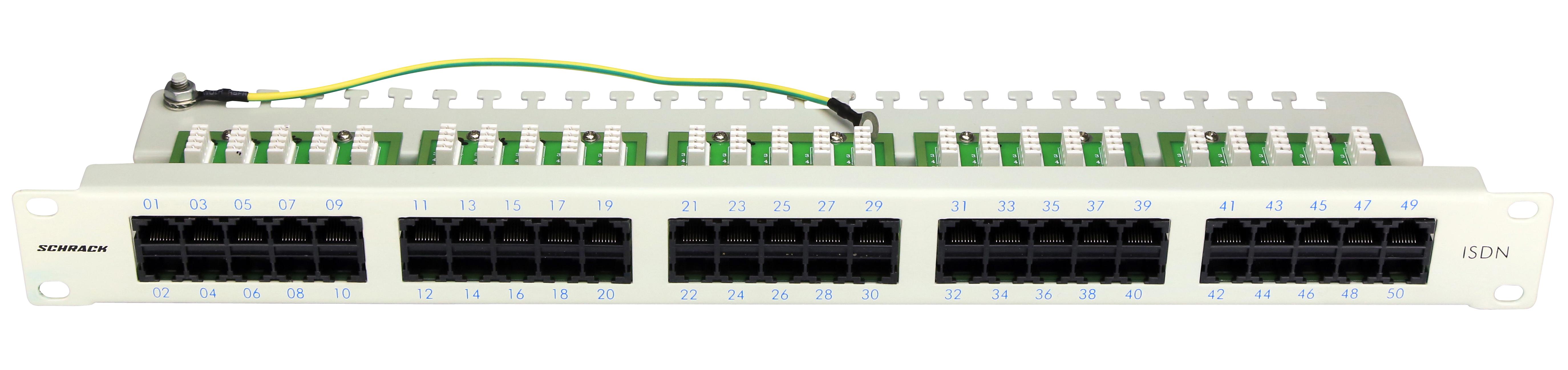 1 Stk Patchpanel 50xRJ45 ungeschirmt, ISDN, 19, 1HE, RAL7035 HSERU50IGC