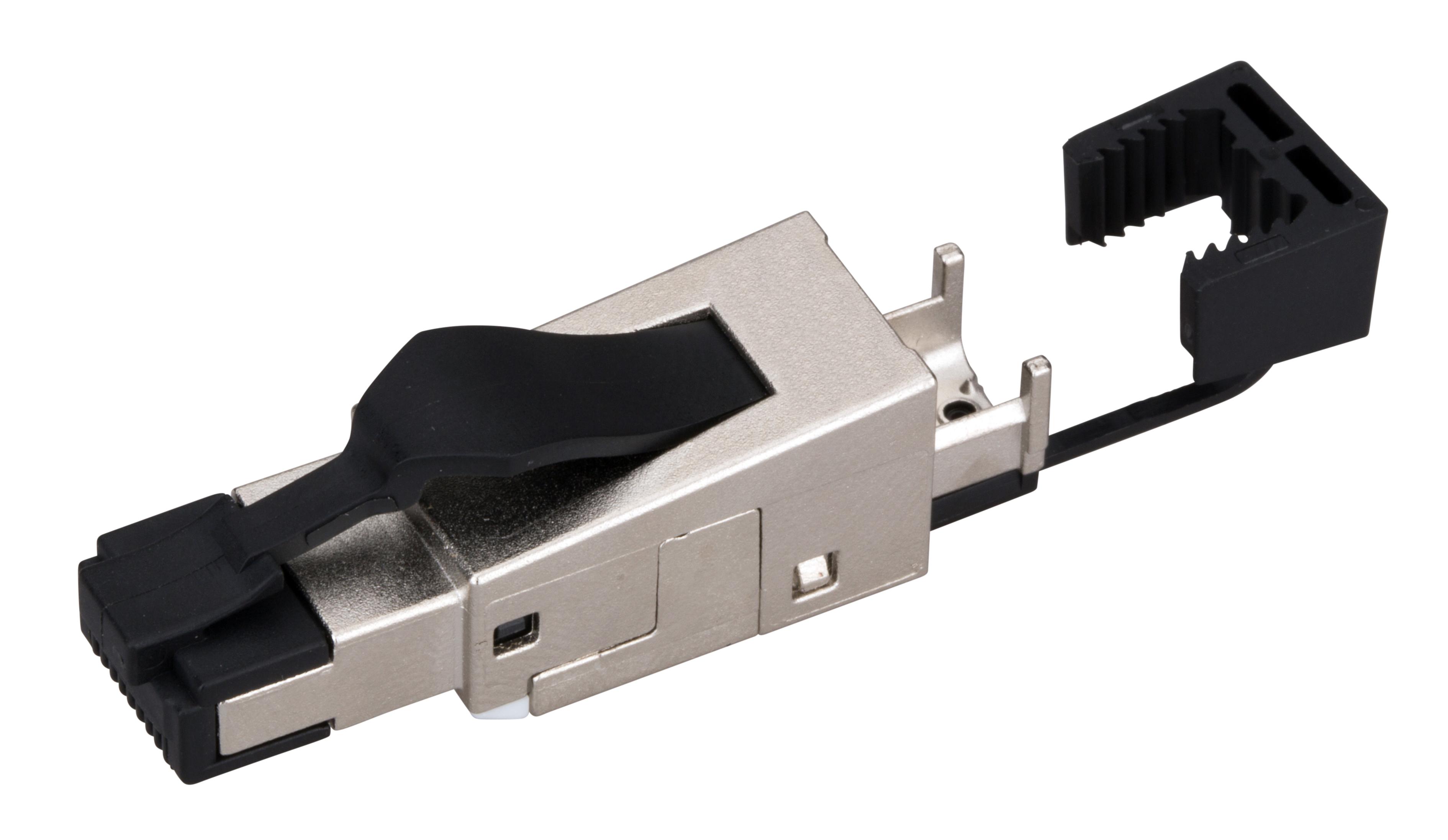 1 Stk Feldkonfektionierbarer RJ45 Ind.-Stecker gesch.Cat.6a,Gerade HSISR6SI3G