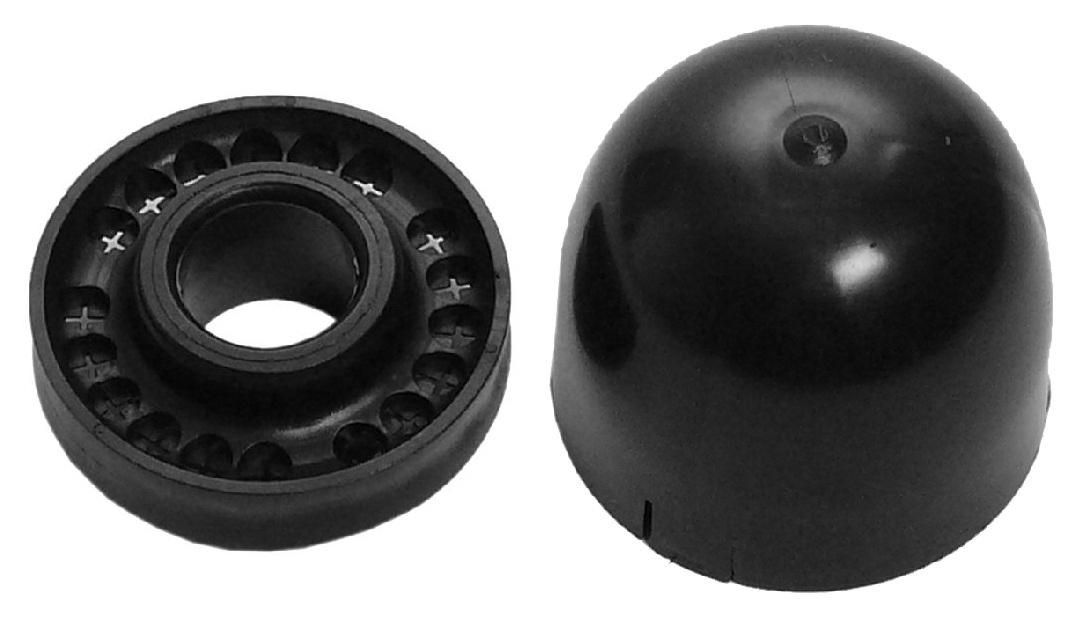 1 Stk SAT Mastkappe f. 50/60mm Mast, mit Kabeldurchführung,schwarz HSZUMMK50K