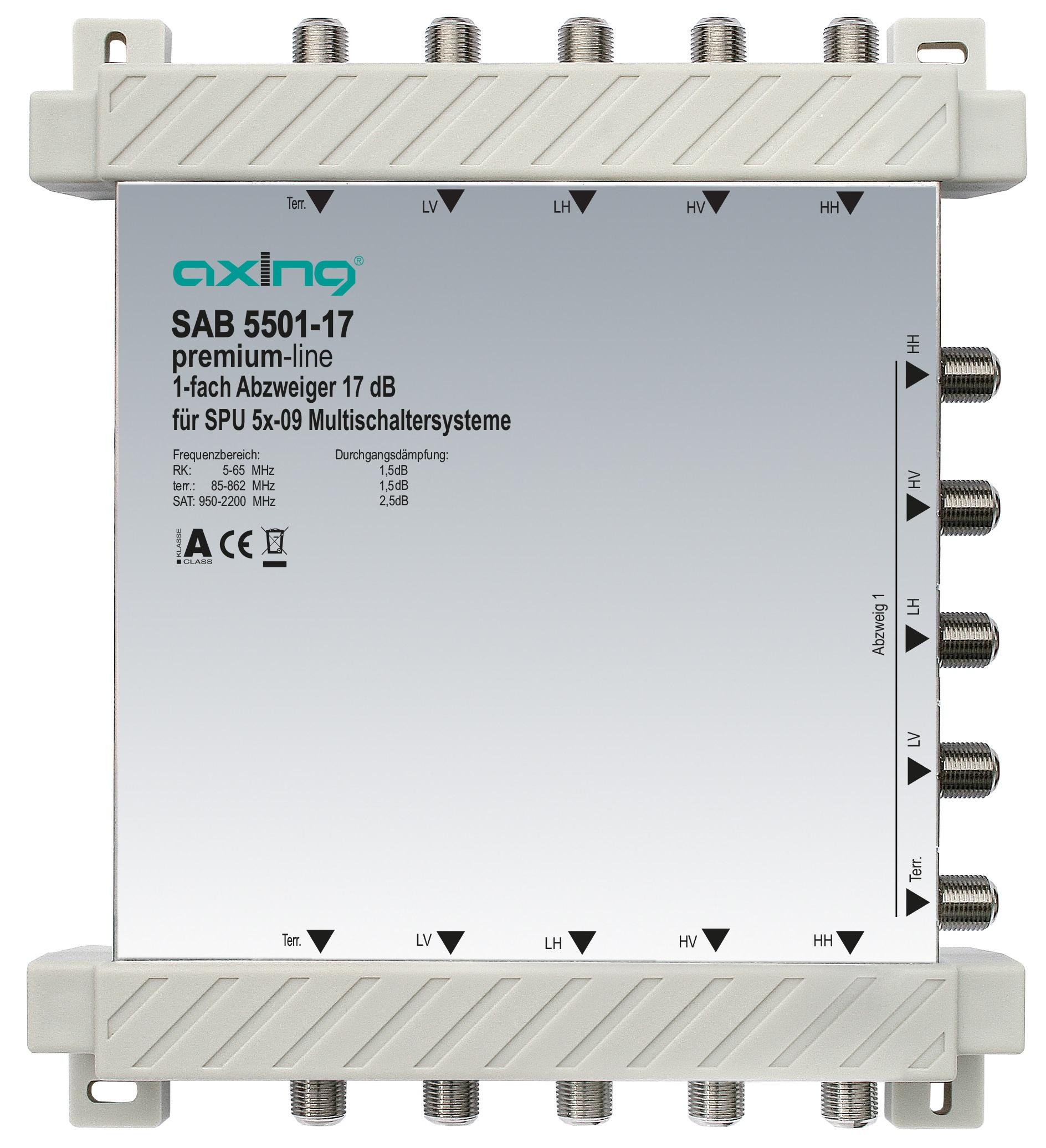 1 Stk 1-fach Abzweiger, 5 in 5, 17 dB, 5 bis 2200 MHz, SAB5501-17 HSZUV55117