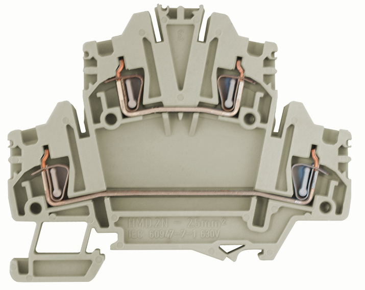 1 Stk Federkraft-Doppelstockklemme HMD.2N grau, 2,5mm² IK250002-C
