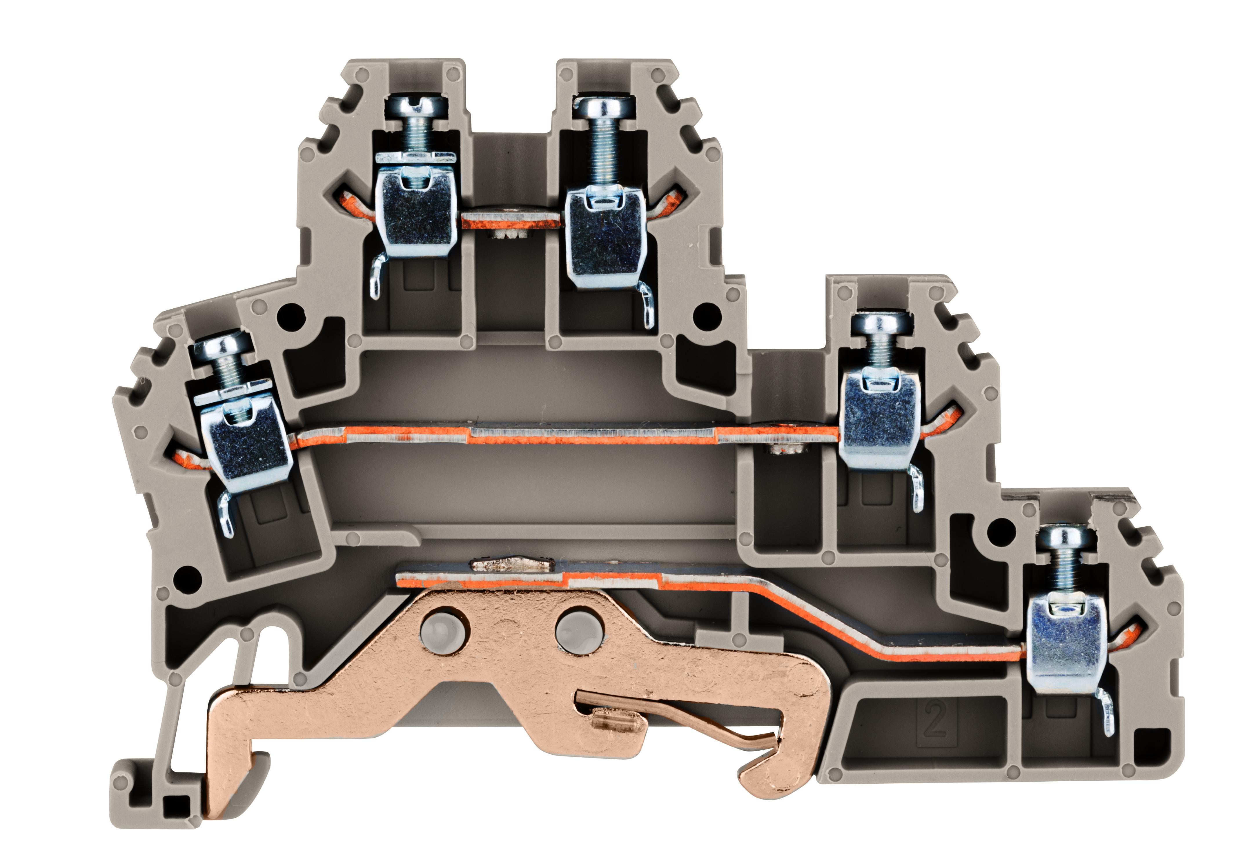 1 Stk Dreistockklemme 2,5mm² (L/L/PE), Type PUK 2 T grau IK680004--